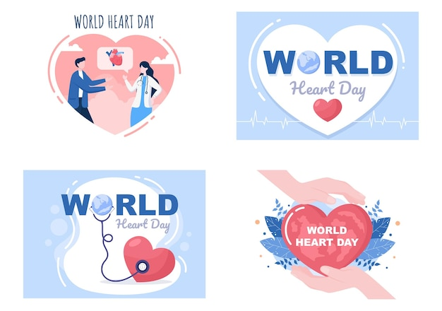 Ilustração do dia mundial do coração para conscientizar as pessoas sobre a importância da saúde, dos cuidados e da prevenção de várias doenças. design plano