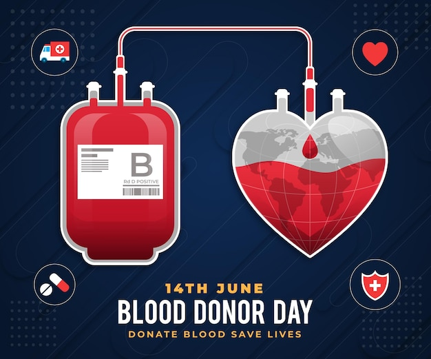Ilustração do dia mundial do doador de sangue gradiente
