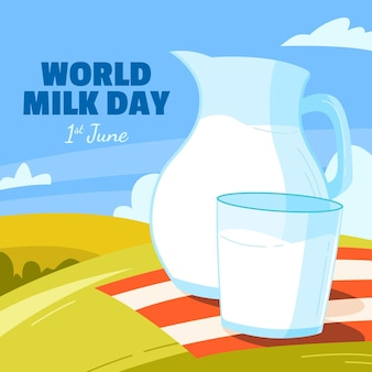 Ilustração do dia mundial do leite orgânico
