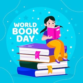 Ilustração do dia mundial do livro dos desenhos animados