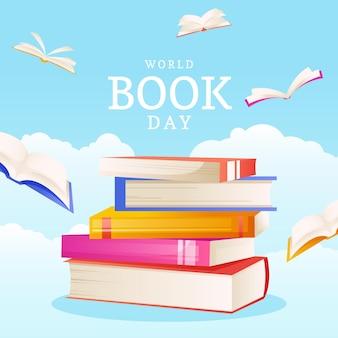 Ilustração do dia mundial do livro em gradiente