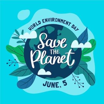 Ilustração do dia mundial do meio ambiente desenhada à mão para salvar o planeta
