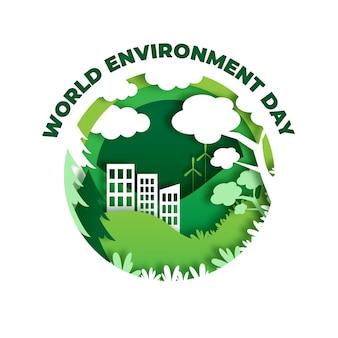 Ilustração do dia mundial do meio ambiente em estilo jornal