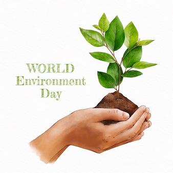 Ilustração do dia mundial do meio ambiente pintada à mão em aquarela