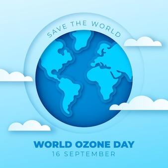 Ilustração do dia mundial do ozônio em estilo de papel Vetor Premium