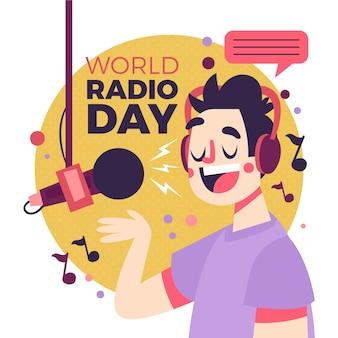 Ilustração do dia mundial do rádio de design plano