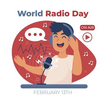 Ilustração do dia mundial do rádio desenhada à mão plana