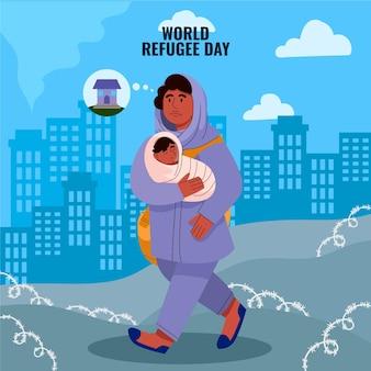 Ilustração do dia mundial do refugiado dos desenhos animados