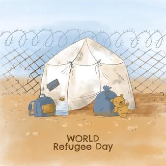 Ilustração do dia mundial do refugiado pintada à mão em aquarela