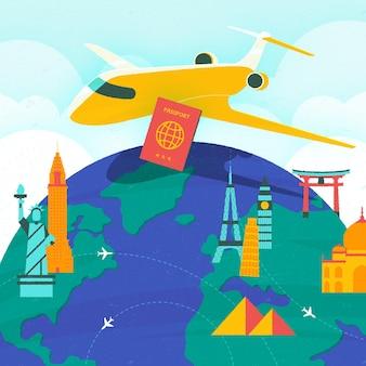 Ilustração do dia mundial do turismo em design plano