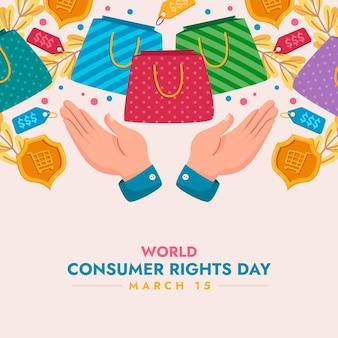 Ilustração do dia mundial dos direitos do consumidor com as mãos e sacolas de compras