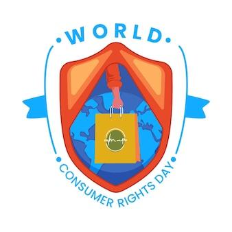 Ilustração do dia mundial dos direitos do consumidor com planeta e sacola de compras