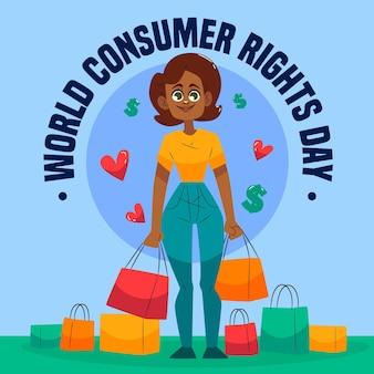 Ilustração do dia mundial dos direitos do consumidor desenhada à mão
