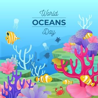 Ilustração do dia mundial dos oceanos dos desenhos animados