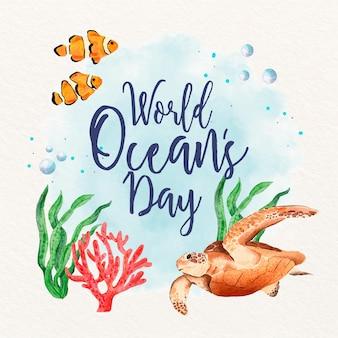 Ilustração do dia mundial dos oceanos em aquarela