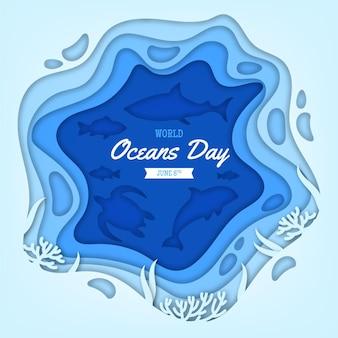 Ilustração do dia mundial dos oceanos em estilo jornal