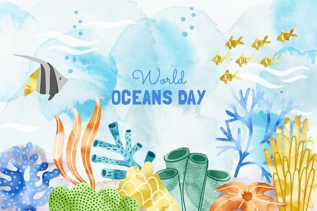 Ilustração do dia mundial dos oceanos pintada à mão em aquarela