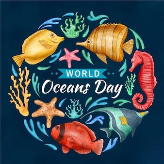 Ilustração do dia mundial dos oceanos pintada à mão Vetor grátis