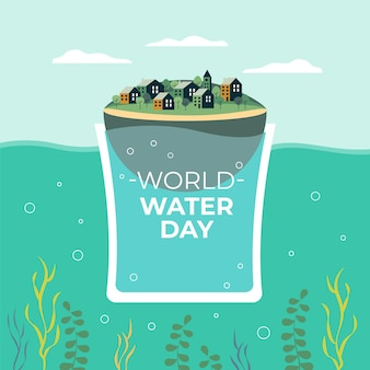 Ilustração do dia mundial plano da água