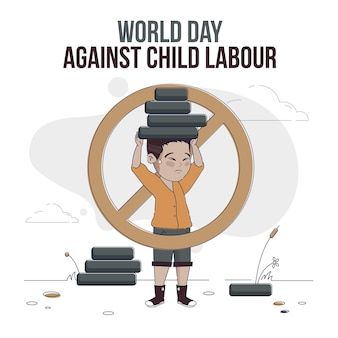 Ilustração do dia mundial plano orgânico contra o trabalho infantil