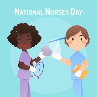 Ilustração do dia nacional das enfermeiras dos desenhos animados