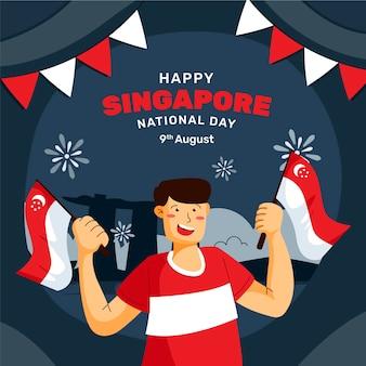 Ilustração do dia nacional de singapura plana