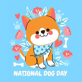 Ilustração do dia nacional do cão dos desenhos animados