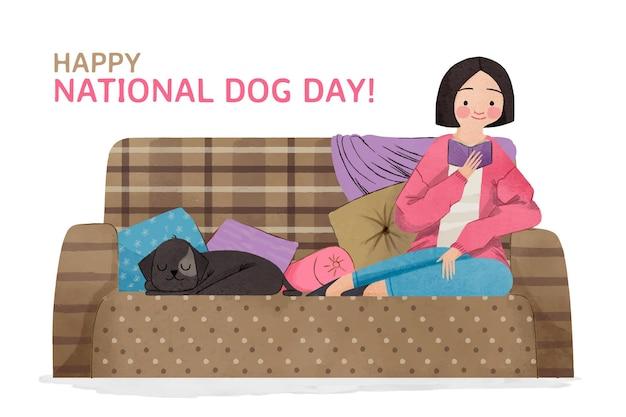 Ilustração do dia nacional do cão pintada à mão em aquarela Vetor grátis