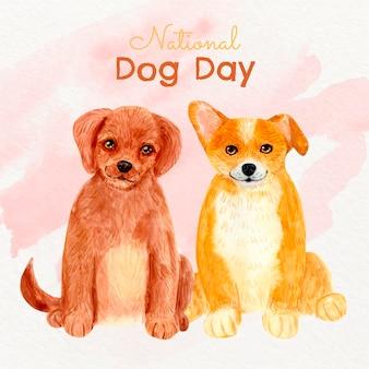 Ilustração do dia nacional do cão pintada à mão em aquarela