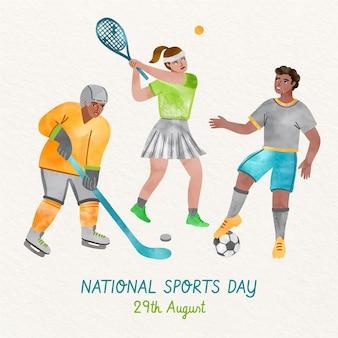 Ilustração do dia nacional do esporte da indonésia pintada à mão em aquarela