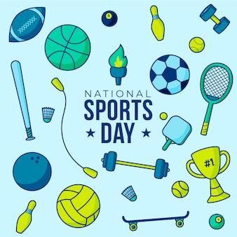 Ilustração do dia nacional do esporte dos desenhos animados