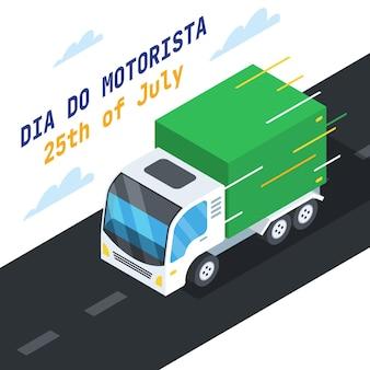 Ilustração do dia plano do motorista