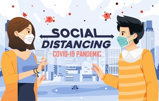 Ilustração do distanciamento social para evitar o contagioso da covid-19 com o fundo da cidade