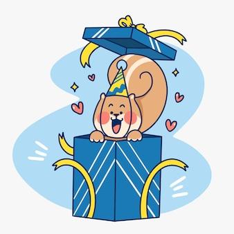 Ilustração do doodle da caixa para presente com esquilo surpresa