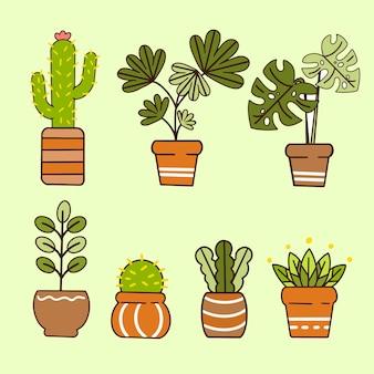 Ilustração do doodle da coleção de plantas decorativas estéticas