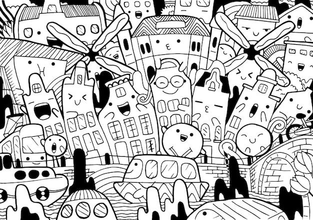 Ilustração do doodle da paisagem urbana de amsterdã em estilo cartoon