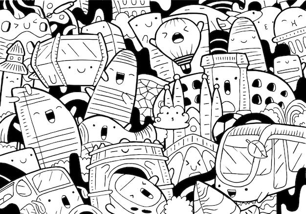 Ilustração do doodle da paisagem urbana de barcelona em estilo cartoon