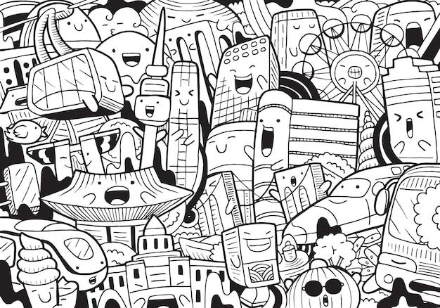 Ilustração do doodle da paisagem urbana de seul em estilo cartoon
