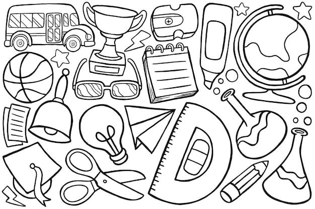 Ilustração do doodle de volta às aulas em estilo cartoon