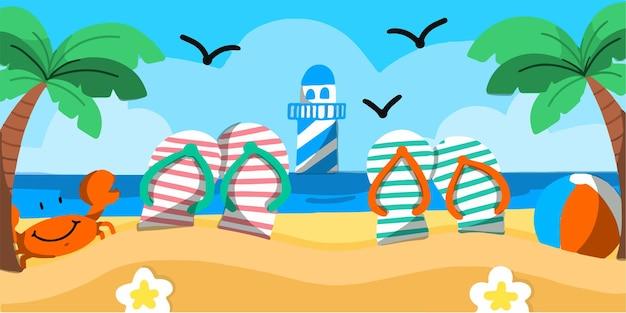 Ilustração do doodle do banner do cenário à beira-mar e farol