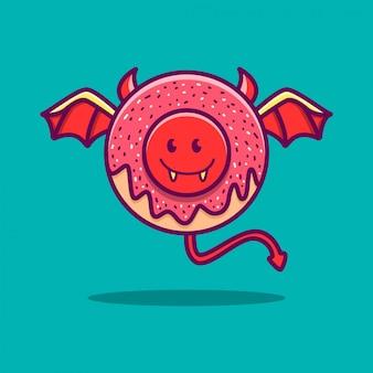 Ilustração do doodle do kawaii do desenho do diabo donut