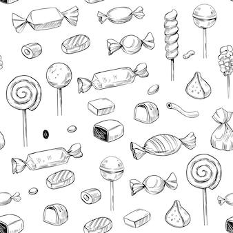 Ilustração do doodle do vetor dos doces projeto de padrão sem emenda bombons de chocolate pirulitos marshmallo