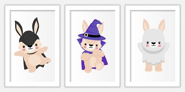 Ilustração do doodle dos desenhos animados do coelho de halloween bonito