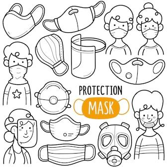 Ilustração do doodle em preto e branco de máscaras de proteção