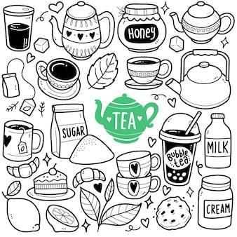 Ilustração do doodle em preto e branco na hora do chá