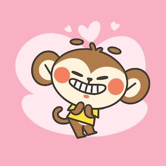 Ilustração do doodle mascote do menino macaco fofo e adorável