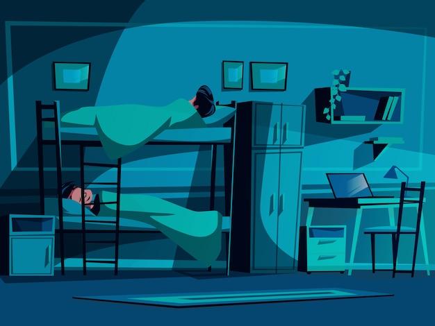 Ilustração do dormitório da faculdade dos colegas que dormem na cama de beliche na noite.