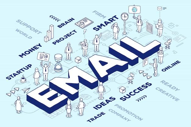 Ilustração do e-mail tridimensional da palavra com pessoas e etiquetas sobre fundo azul com esquema.