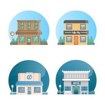 Ilustração do edifício de coffeeshop