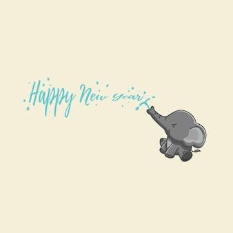 Ilustração do elefante desejando a você um feliz ano novo